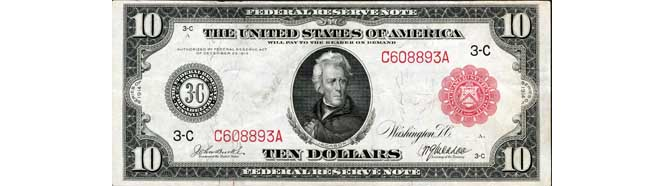 $10 Large Federal Reserve Note