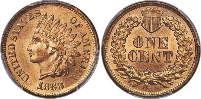 1868 Indian Head Penny MS66+RD