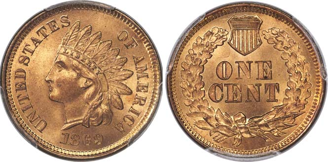 1869 Indian Head MS66+RD