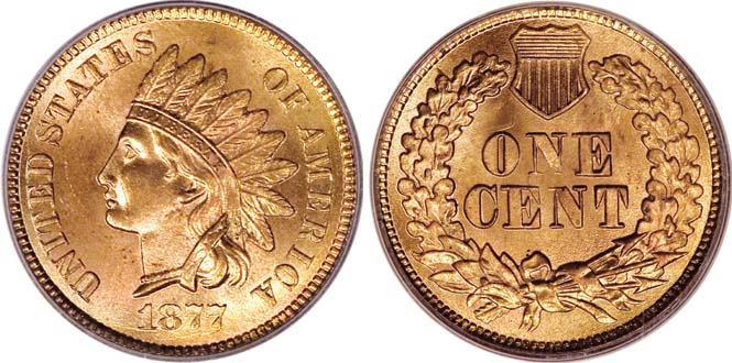 1877 Indian Head Penny MS66RD
