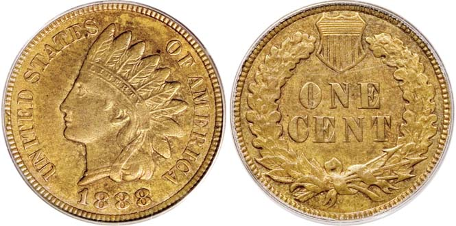 1888 Indian Head Penny 8 Over 7 MS63BN
