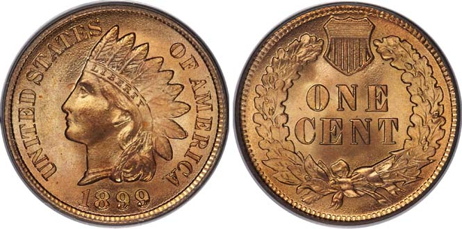 1899 Indian Head Penny MS68RD