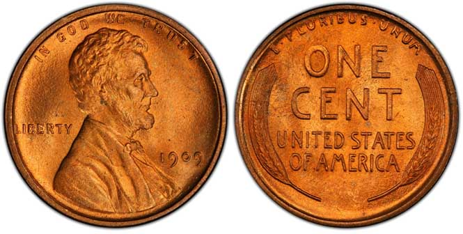 1909 Lincoln Wheat Penny MS67+RD
