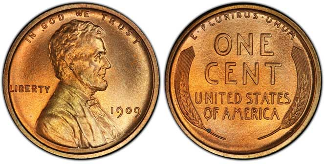 1909 Lincoln Wheat Penny PR67+RD