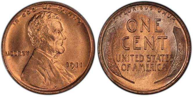 1911 D Lincoln Wheat Penny MS67RD