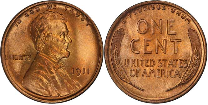 1911 Lincoln Wheat Penny MS67+RD