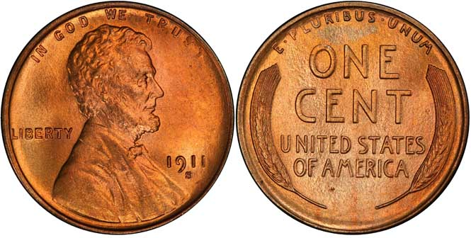 1911 S Lincoln Wheat Penny MS66+RD