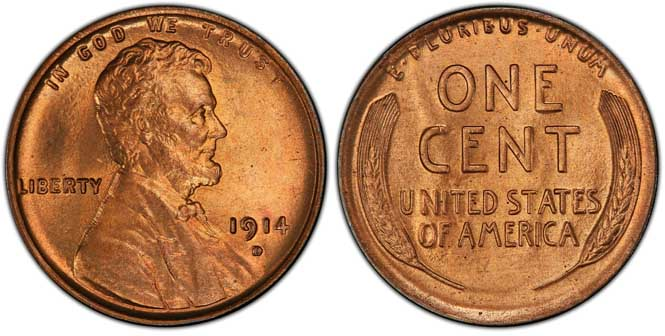 1914 D Lincoln Wheat Penny MS66+RD