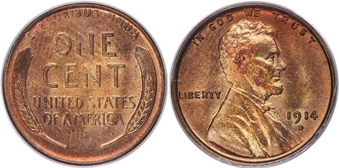 1914 Lincoln Wheat Cent Obverse & Reverse