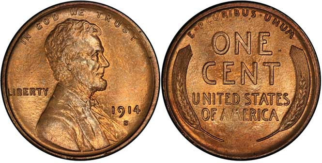 1914 S Lincoln Wheat Penny MS66RD