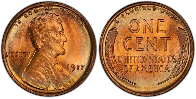 1917 Lincoln Wheat Penny Doubled Die Obverse MS67+RD