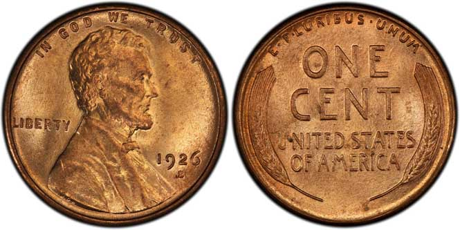 1926 S Lincoln Wheat Penny MS65RD