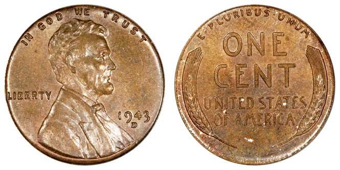 1943 D Lincoln Wheat Penny MS64BN