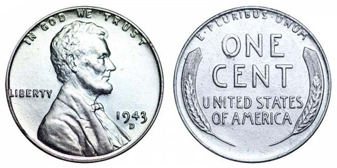 1943 D Lincoln Wheat Penny Steel