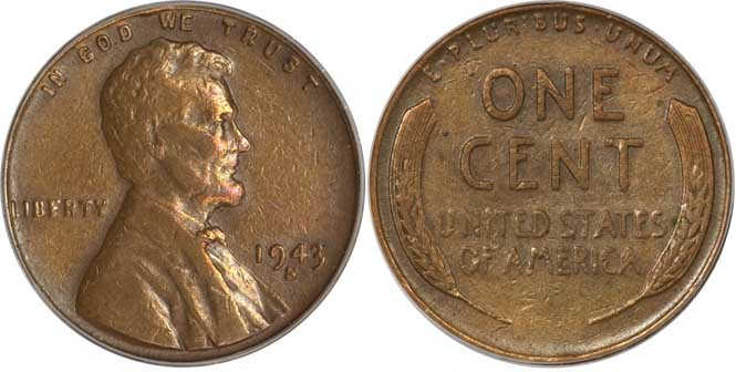 1943 S Lincoln Wheat Penny VF35