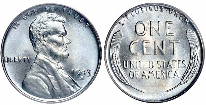 1943 S Lincoln Wheat Penny Steel