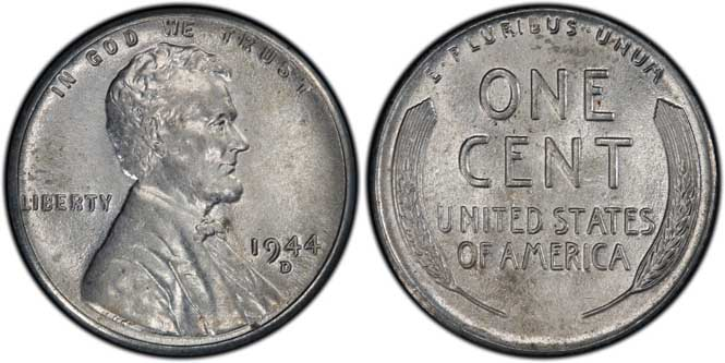 1944 D Lincoln Wheat Penny MS63