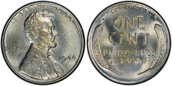 1944 S Lincoln Wheat Penny MS66