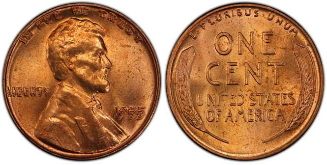 1955 Lincoln Wheat Penny Doubled Die Obverse MS65+RD