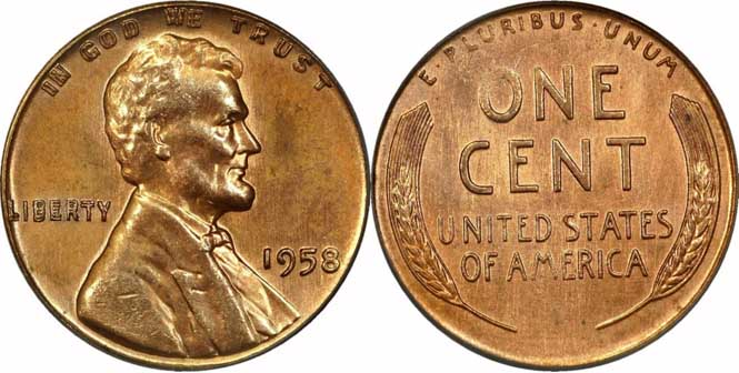 1958 Lincoln Wheat Penny Doubled Die Obverse MS64RD