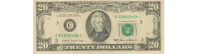 1985 $20 Star Replacement Note