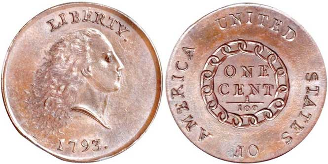 Flowing Hair Chain Large Cent - Reverse and Obverse