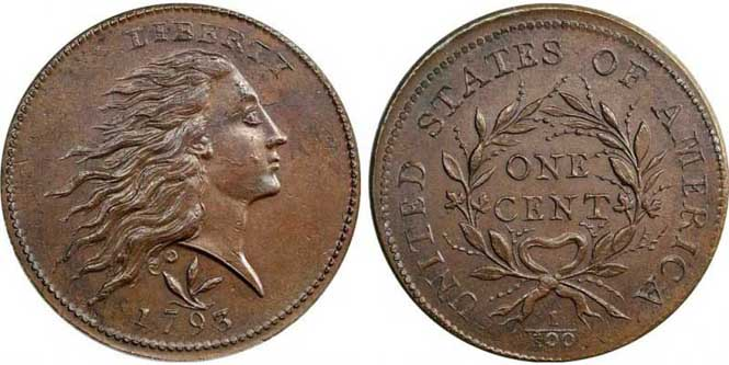 Flowing Hair Wreath Large Cent - Reverse and Obverse