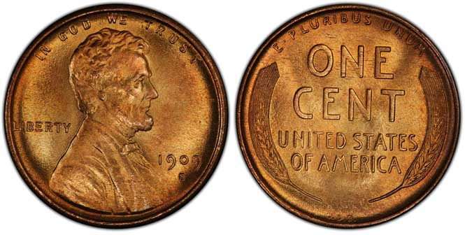 1909 S VDB Lincoln Wheat Penny MS67RD