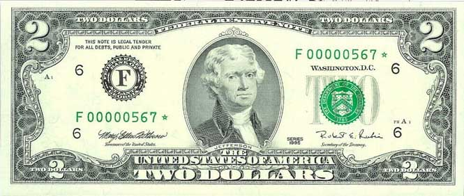 1995 2 Dollar Bill Star Replacement Note